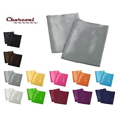 Creative 2 Pieces of Colorful Shiny Satin King Size Pillow Case - Charcoal