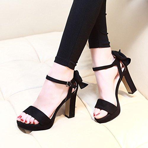Taiwán Impermeable Sandalias Satén Con EU35 High Dew Eu35 Zapatos Ranurado Sandals Con Espesor Hembra Pajarita Heeled SHOESHAOGE Toe gFqEYE