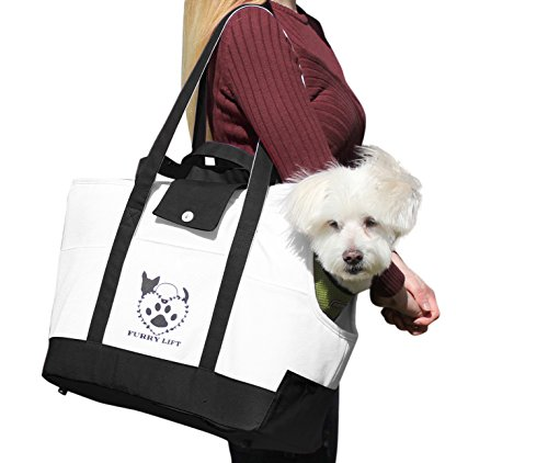 Furry Lift Pet Carrier Purse for Dogs or Cats, 8 Inner and Outer Pockets for Phone and Supplies, Safety Flaps, Up to 15lbs, Sherpa Insert, Perfect for Subway, Car, and ()