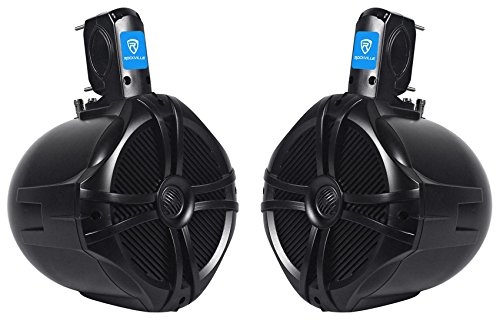 "Rockville Pair 8"" Black 2 Way 600 Watt Marine Wakeboard Tower Speakers (RWB80B)"