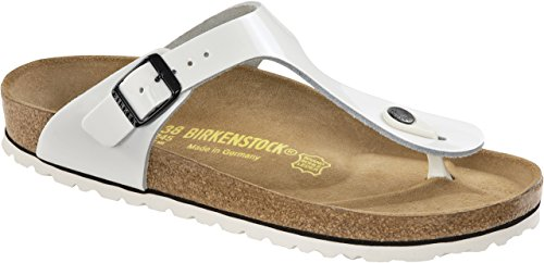 Birkenstock Gizeh Womens White Patent Leather Thongs 39 EU (8-8.5 N US (Gizeh White Leather)
