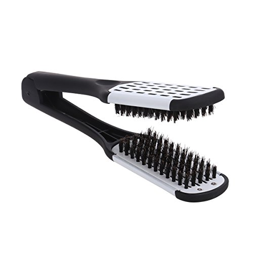 ROSENICE Hair Comb Hair Straightening Comb Styling Tools Boar Bristle Double Sided Brush Comb Clamp (Black (Bristle Styling Brush)