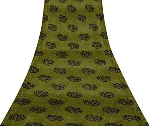 Svasti Leaves,Floral & Paisley Block VintageSari Refurbished Dusty Green 100% Pure Silk Printed Craft Fabric 5 Yard