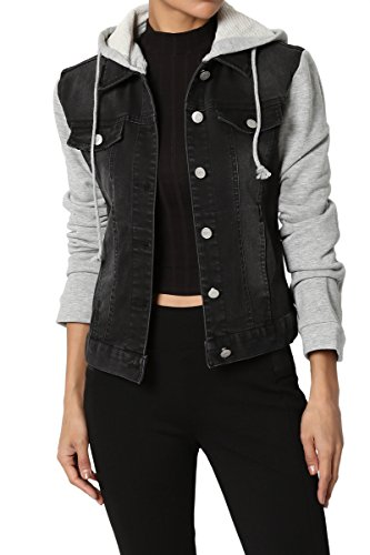 TheMogan Junior's Hoodie Denim Jacket with Grey Fleece Long Sleeve Black S