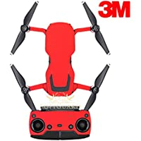 SopiGuard 3M Matte Red Precision Edge-to-Edge Coverage Vinyl Sticker Skin Controller 3 x Battery Wraps for DJI Mavic Air