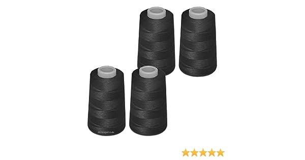 4 conos de hilo negros de poliester, especiales para máquinas de ...