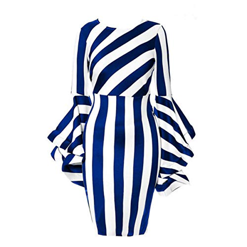 Sexy Horn Sleeve Striped Tunic Stretch Party Cocktail Elegant Dresses for Women Blue 2XL ()