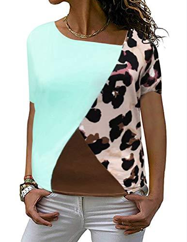 DRIBET Women's Short Sleeve Leopard Print Patchwork T-Shirt Casual Basic Tunic Knit Tee Top Shirts Light Blue, Small