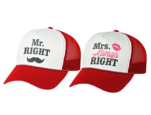 Mr & Mrs Gift for Couples, Anniversary, Married Couples Matching Set Mesh Caps Mr red/White One Size/Mrs red/White One Size