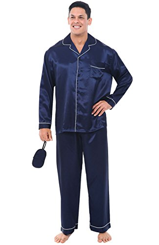del-rossa-mens-satin-pajamas-long-button-down-pj-set-large-midnight-blue-a0752mbllg