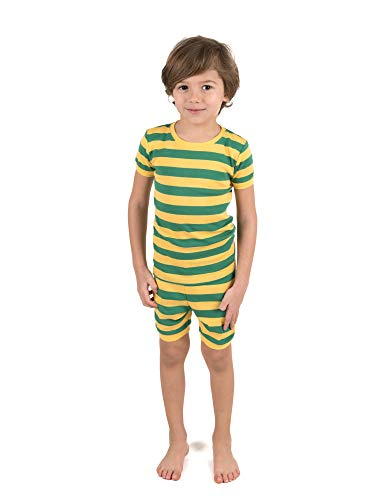Leveret Shorts Pajamas Girls 2 Piece Pajamas Set 100% Cotton (Yellow/Green,Size 6 Years)