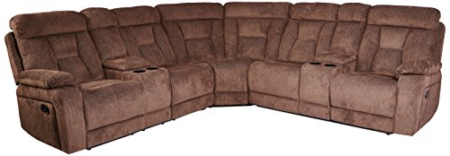 Homelegance Rosnay Manual Reclining Sectional with Console, 108″W, Chocolate Fabric Review