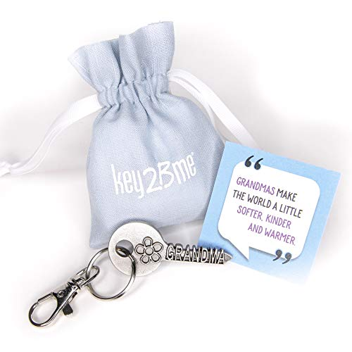 - key2Bme Grandma Key - Grandmother Flower Keychain & Inspirational Quote - Cool Fun Unique Best Small Mother Day Gift Under $10 for New Great Grandmother Birthday from Grandson Granddaughter