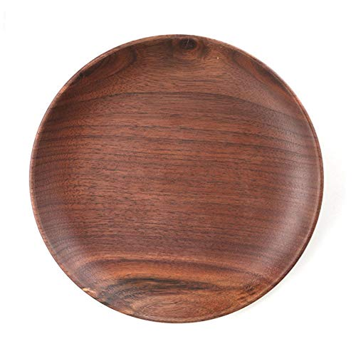 Kitchen Plates Tray Wood Serving Charger Plates Wood Plates (8in, Walnut) Beige Round Serving Plate