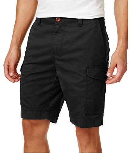 Tommy Hilfiger Men's 10 Inch Flat Front Cargo Shorts, 31, Deep Knit Black