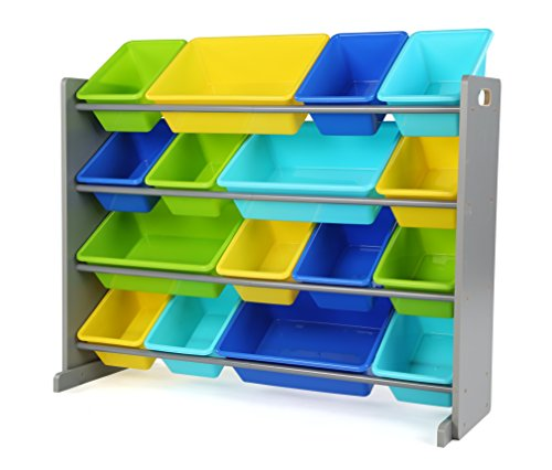 41WzPXbReXL - Tot Tutors WO498 Elements Collection Wood Toy Storage Organizer, X-Large, Grey/Blue/Green/Yellow