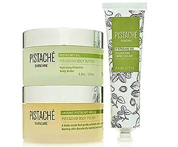Pistach Skincare – 3-Piece Hydrating Body Butter, Hand Cream Exfoliating Body Polish Set
