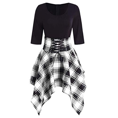 Birdfly Basic Black Top Patchwork Plaid Skirt Fashion Dress for Women Girl (S, Gray)