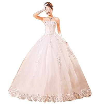 Comvison Royal Sleeveless White Bead Bridal Dress Train Wedding Dress Gown