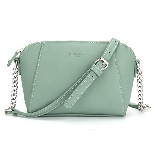 DAVID - JONES INTERNATIONAL Small Leather Designer Crossbody Bags Chain Saddle Green Handbag for Teen Girls