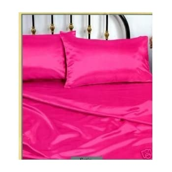 Amazon Com Pink Silky Queen Satin Pillowcase Fitted And