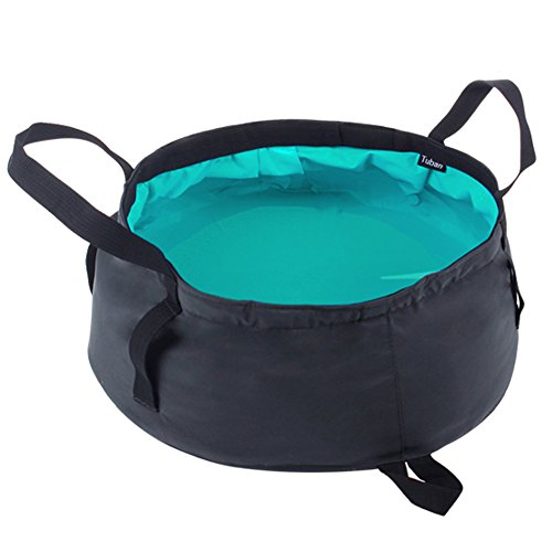 Lifeunion Ultra Lightweight Portable Outdoor Folding Wash Footbath Basin Water Bag Wash Bucket for Camping Traveling (Turquoise)