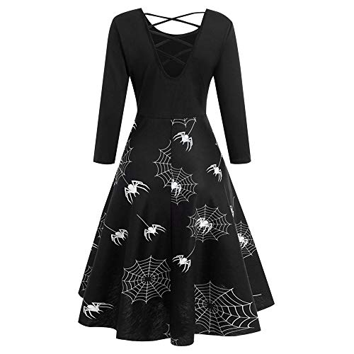 DongDong Halloween Dress, Spider Web Bandage Printed Gown Flare Hollow Evening Party Dress (XL, Black)