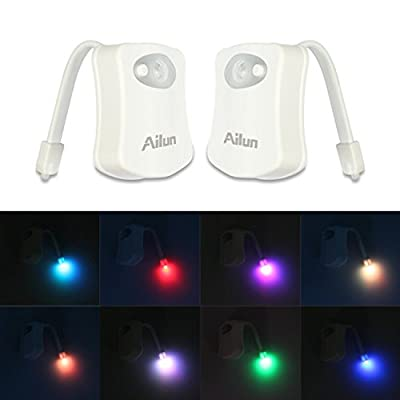 Toilet Night Light,[2Pack]by Ailun,Motion Activated LED Toilet Light,8 Colors Changing Toilet Bowl Nightlight for Bathroom[Battery Not Included][White]