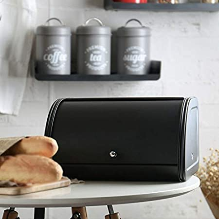 Guajave Metal Pan Caja Papelera Cocina Envases Contenedores con Rollo Tapa Superior Utensilios de Cocina Caja Almacenaje Negro