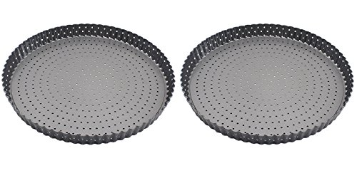 2PCS/SET Carbon Steel Round Hole Bake Ronded Tart Pie Pizza Circular pan