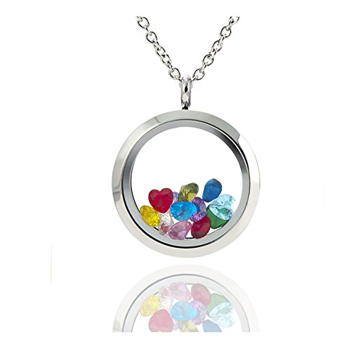 EVERLEAD Living Memory Floating Round Locket Pendant Necklace 316L Stainless Steel Toughened Glass Free Chain and - Glasses Origami