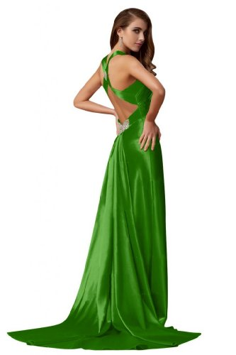 Celebrity Abito lungo al dietro Verde con da Dress Eyekepper collo sera Sunvary allacciatura CxwvBv