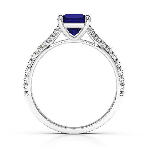 Or blanc 18carats 1CT G-H/VS Certifié saphirs et diamants taille princesse Bague de fiançailles Agdr-1217