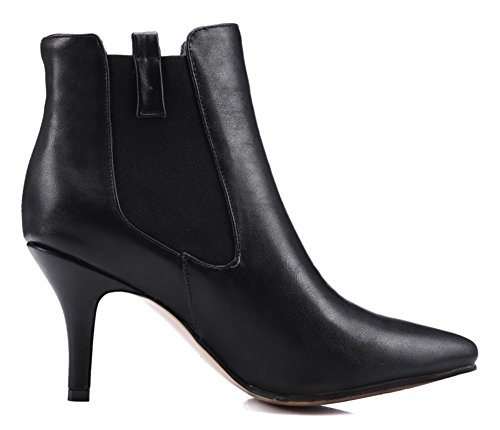 Aisun Womens Sexy Dressy Elastic Stiletto High Heel Chelsea Boots Pull On Pointed Toe Ankle Booties Black MOpTEUNw6