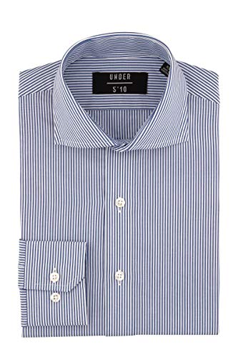 Bengal Stripe Striped Dress Shirt - Under510 Striped Dress Shirt, Sized to Fit Shorter Men (X-Small, Blue Bengal Stripe)