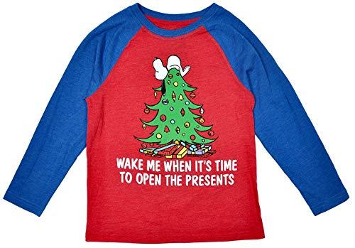 Peanuts Little Boys Raglan T-Shirt Snoopy Christmas Print Child Youth Ages 4-7