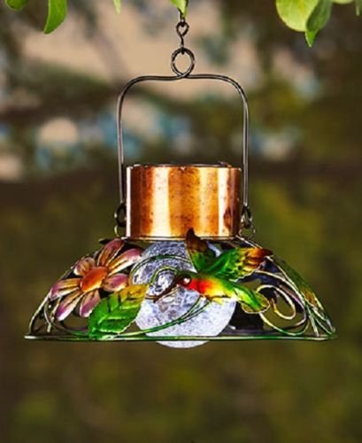 Colorful Solar Garden Lamps Solar Powered Metal and Crackle Glass Ball Lights (Hummingbird) (China Lamp Solar)