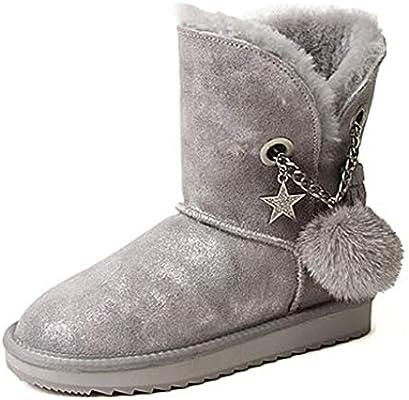 Zapatos de Mujer Botines Pelota de Pelo Botas de Nieve cálidas ...