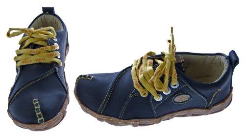 Leder Schuhe Damen Comfort Schwarz Ziernähte Gelb TMA Eyes Gr. 36