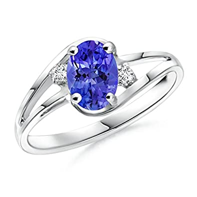 Angara Solitaire Round Tanzanite Curved Shank Ring in 14k Yellow Gold 9VoLBA