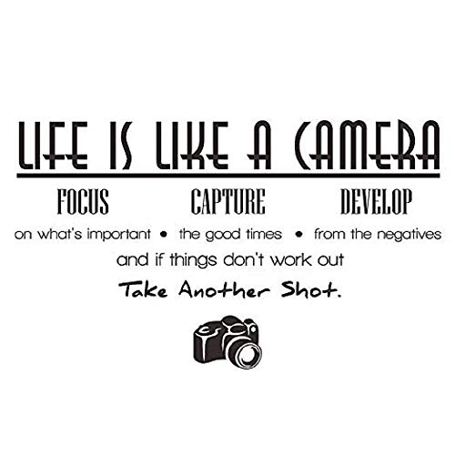 YSX Life is Like a Camera Focus Capture Develop and Take Another Shot Vinyl Wall Decals Quotes Sayings Words Art Decor Lettering Vinyl Wall Decals