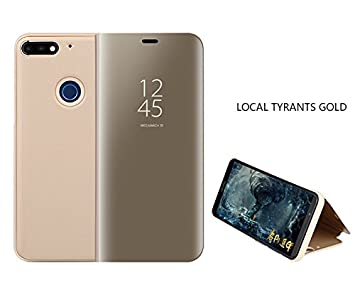 the best attitude 8daf0 8451f Huawei P Smart Mirror Plating Flip Case Smart View Flip Cover for Huawei P  Smart (Gold)