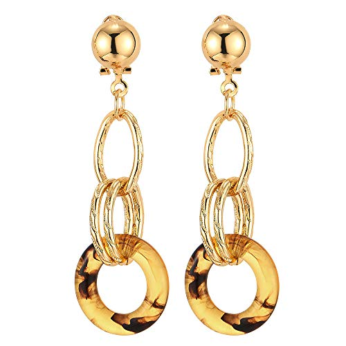 Stylish Large Gold Statement Earrings Open Ovals Resin Circle Link Long Drop Dangle, Dress Prom ()