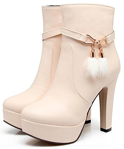 Side Toe Easemax Women's With Heeled Sexy Platform Zipper Block High Boots Ankle Round Beige HqUnHtrdP