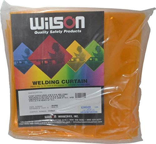 Wilson Industries - 8 Ft. Wide x 6 Ft. High 14 Mil Thick, Vinyl Welding Curtain - Gold, Grommet (3 Pack)
