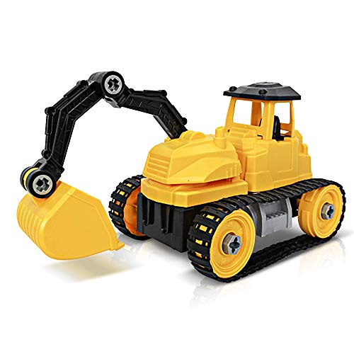 ArtCreativity Take Apart Yellow Construction Toy Truck - 43 Pieces with Tools - Large Excavating Backhoe Toy - Perfect Digger Toy and Great Birthday Gift Idea for Boys and Girls Ages 3+