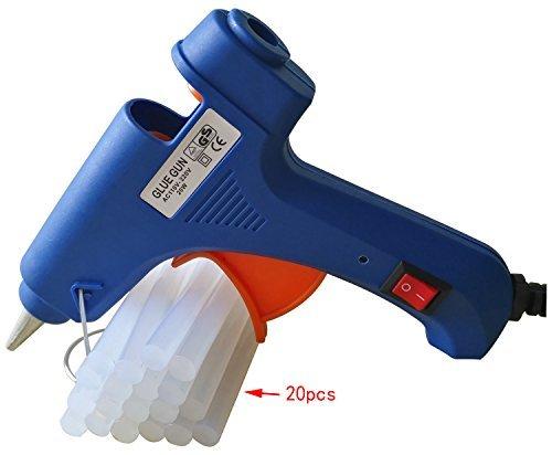 Mini Hot Glue Gun with 20 pcs Melt Glue Sticks High Temperature Melting Glue Gun Kit Flexible Trigger for DIY Small Craft Projects and Package (20-watt, Blue)