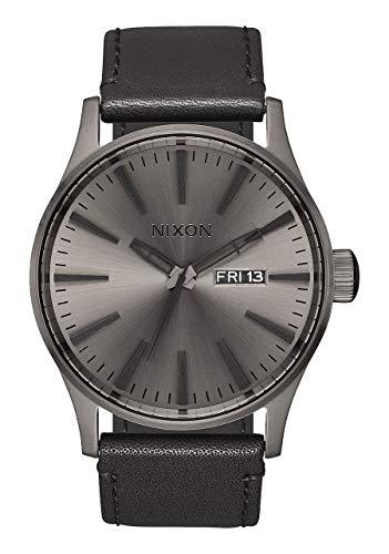 Nixon Sentry Leather A1051531-00. Gunmetal & Black Men's Watch 42mm Deal (Large Image)