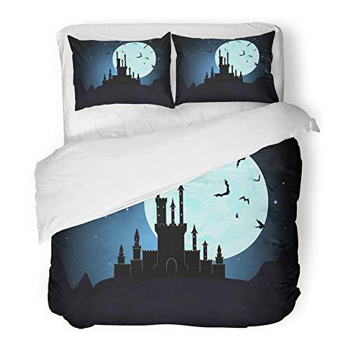 Emvency Decor Duvet Cover Set Full/Queen Size Dracula Halloween Dracula's Castle Moon Dungeon Transylvania Vampire Mystical Night 3 Piece Brushed Microfiber Fabric Print Bedding Set Cover]()