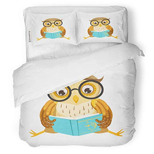 CANCA Premium Duvet Cover Set Owl Reading The Book Cute Cartoon Character Emoji Forest Bird Showing Human Emotions Behavior Decorative Bedding Set Pillow Sham Twin Size